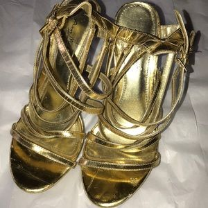 Anne Michelle Golden Strappy Shoes